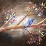 Painting of blue bird in tree