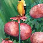 Painting of yellow bird on flower